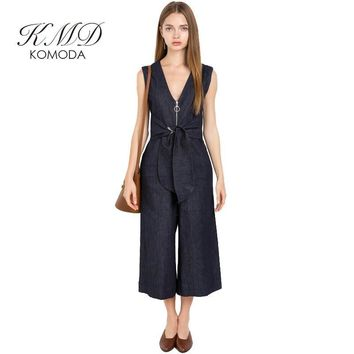 KMD KOMODA Sleeveless Denim Jumpsuits Rompers Casual Slim Summer Female Playsuits Tie Waist V Neck Women Romper Overalls