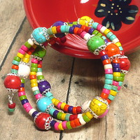 Summer Fiesta Multi Color Handmade Wrapped Gemstone BOHO Bracelet
