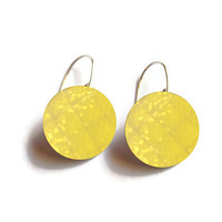 Yellow Earrings - FREE SHIPPING to USA sterling silver dangle earring dye sublimation handmade bright colors cute gifts for her bokeh hearts