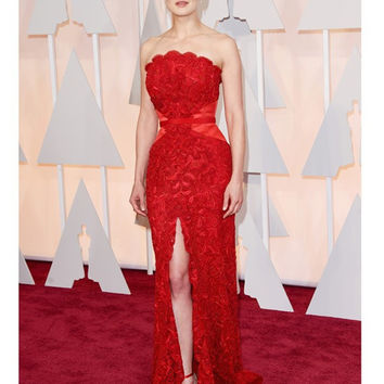 Red Fashion Evcening Dresses Strapless mermaid Lace High Split Sheath Prom Oscar Party Gown