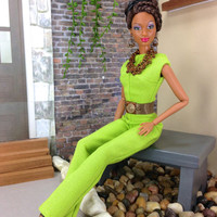 Barbie Doll Clothes - Lime Green Jumpsuit with Belt, Necklace, Earrings, and Shoes