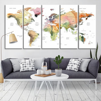 93639 - Large Wall Art World Map Canvas Print- Custom World Map Push Pin Wall Art- Custom World Map Canvas Poster Print- Personalized Wall Art