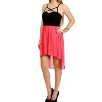 BlackCoral Crisscross Hi Lo Dress