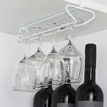 Behokic Fashion Single Double Row Hang Rack Wine Goblet Glass Shelf Stemware Hanging Holder for Home Dining Coffee Houses Bar