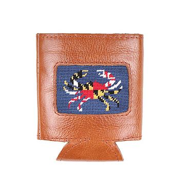 Maryland Flag Crab Needlepoint Can Cooler in Classic Navy by Smathers & Branson