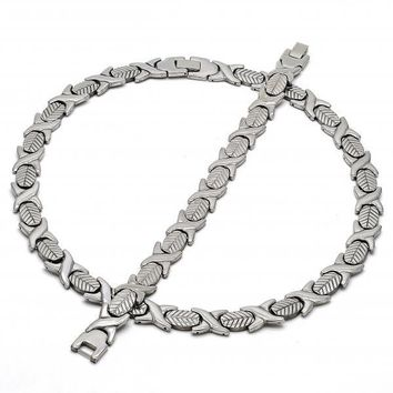 Stainless Steel Necklace and Bracelet, Hugs and Kisses and Leaf Design, Steel Tone