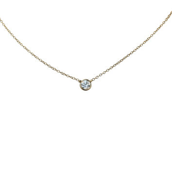 Diamond by the Yard Necklace 1/2ct Zirconite Solitaire Pendant