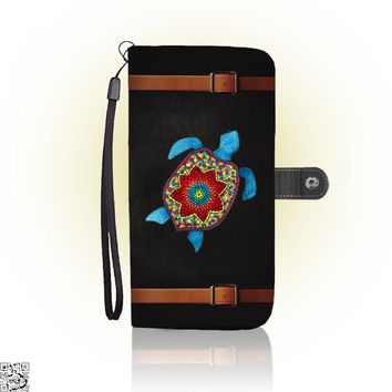 Turtley Awesome Mosaic Watercolor Turtle, Sea Turtles Wallet Case