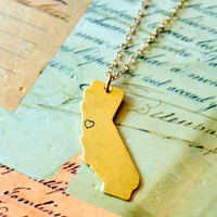 Golden California State Necklace with Heart