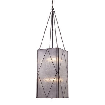 Elk Lighting 72038-8 Stockton Polished Chrome Eight-Light Lantern Pendant with Sculptured Clear Glass