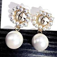 GUCCI Fashion Women Delicate GG Letter Pearl Pendant Earrings Accessories Jewelry