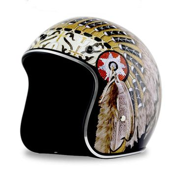 KCO Vintage Native American Open Face 3/4 DOT Approved Motorcycle Helmet