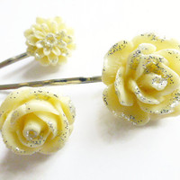 lemon hair grips, flower bobby pins hair jewellery barrettes, UK shop