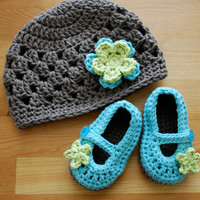 Baby Girl, Flower Hat with Mary Jane Booties Set in Taupe, Seaspray, and Lime, Baby Girl Clothes, Baby Girl Photo Prop
