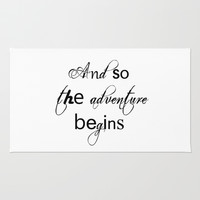 And So The Adventure Begins Rug by White Print Design