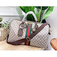 GUCCI Fashion New Stripe More Letter Leather High Quality Leisure Travel Handbag Shoulder Bag Women