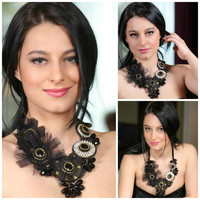 Black onyx,crystal statement necklace