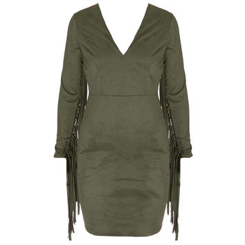 Faux Suede Fringe Sleeve Mini Dress, Olive