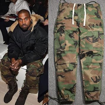 Men baggy army camouflage pants men's camo joggers Kanye west yeezy loose military men