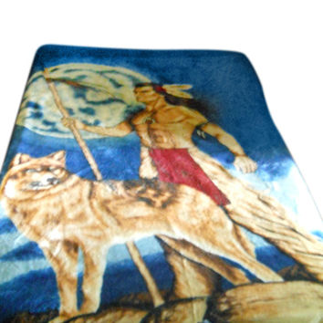 Wolf Bedding Native American Bedspread American Indian Blanket Western Bedding Western Bedspread Twin Bed Spread Twin Bedding Wolf Decor