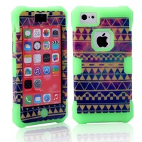 MagicSky Galaxy Tribal Pattern Glow in the Dark Case for Apple iPhone 5C - 1 Pack - Retail Packaging - Green