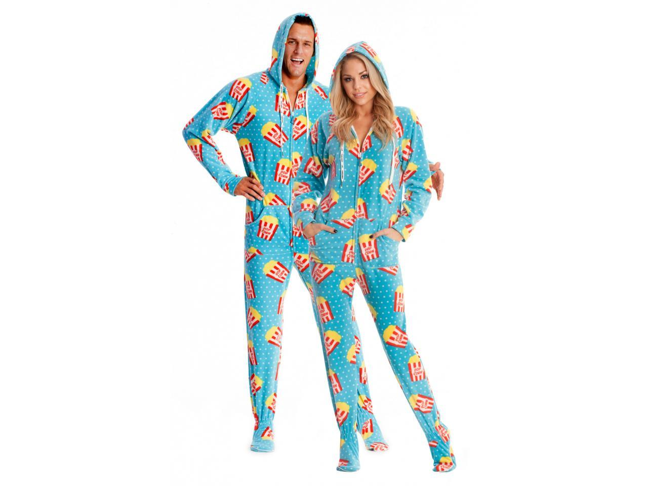 Movie Night Popcorn Printed Footed Adult From Jumpinjammerz
