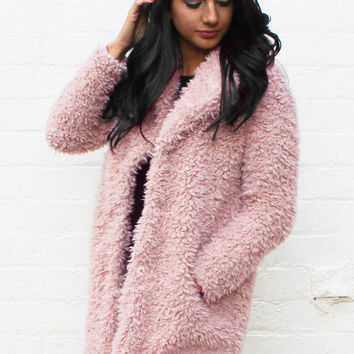 Teddy Bear Texture Faux Fur Pea Coat in Dusky Pink