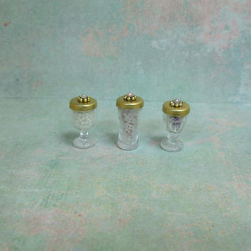 Set of Three Dollhouse Miniature Vanity Jars