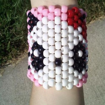 Girly Panda Bear Bow Kandi Rave Cuff PLUR Bracelet