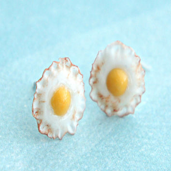 fried egg stud earrings