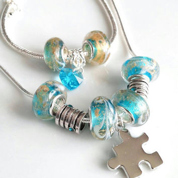 Autism necklace, autism bracelet, autism awareness jewelry, European glass beaded puzzle piece necklace , gift for her, birthday, Christmas