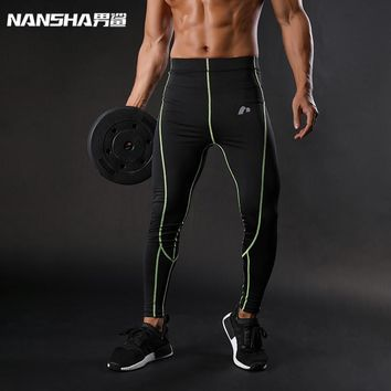 Men Compression Pants Solid Spliced Skinny Leggings Tights pants Fitness Joggers Elastic Bodybuilding Trousers