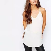 V-Neck Strap Shirt With Slit