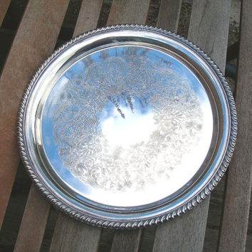 Wm Rogers Round Silverplate Serving Tray, Vintage c1970s, Weddings, Tea Party, Buffet Tray, Entertaining, Home Decor