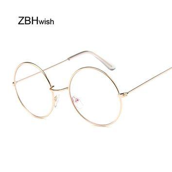 8ea0cff1d Fashion Round Vintage Glasses Frame Men Lunette Metal Frame Clea