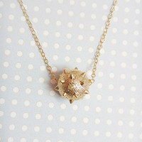 Smash - spiked ball gold filled necklace, simple everyday wear, minimalist jewelry