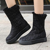 FENDI Winter Fashion Women F Letter Warm Wool Thick Sole Snow Boots Black