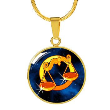 Zodiac Sign Libra - 18k Gold Finished Luxury Necklace