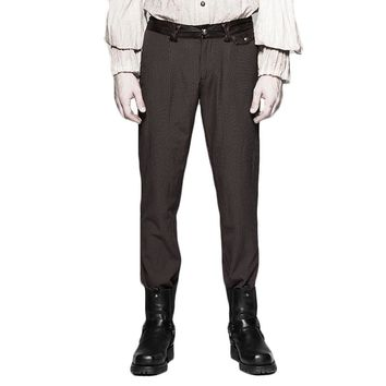 Popularity Punk Pinstripe Simple Casual Steam Punk Trousers Black Brown Gothic Vintage Men's Long Pencil Pants Fitted Style