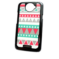Accessory Case HTC One X Tribal Mint Gray Coral Hard Case in Black