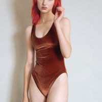 Lovespell - Rust velvet bodysuit with high cut legs - warm brown - orange