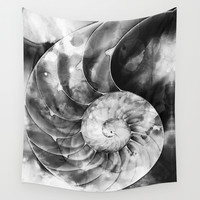 Black And White Nautilus Shell By Sharon Cummings Wall Tapestry by Sharon Cummings