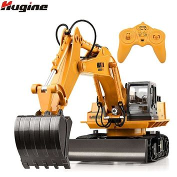 RC Truck 11CH Excavator Alloy 2.4G Backhoes Bulldozer Remote Control Digger Engineering Vehicle Model Electronic Kids Hobby Toys