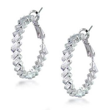 Statement Prom Pageant Bridal CZ Baguette Hoop Earrings Silver Plated