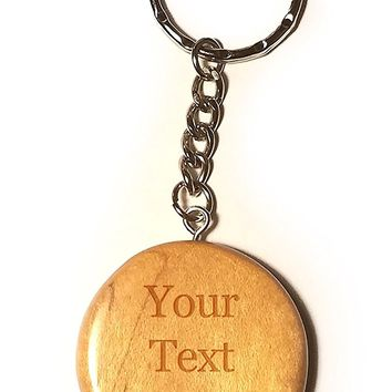 Customized 3D Laser Engraved Personalized Circular Wooden Custom Key Chain