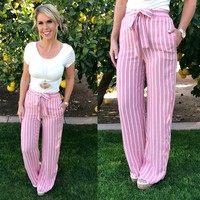 Something to Ponder Striped Pants: Pink