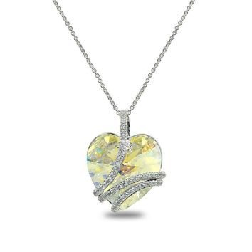 "Aurora Borealis Swirl ""My Love Forever"" Heart Necklace made w/ Swarovski Crystal"