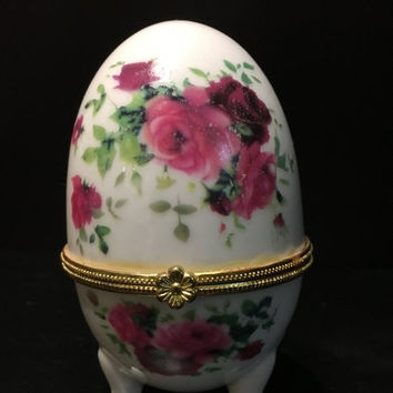 5 DAY SALE (Ends Soon) Beautiful 1980s Vintage Porcelain Footed Egg Hinged Trinket Box White, Gold with Pink Flowers