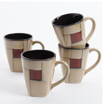 Gibson Elite Azeal 4 Pack 14oz Mugs - Taupe