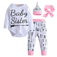 2018 Fashion Newborn Baby Girls Autumn Baby Clothing Baby Clothing Set Cotton Romper +Pants + Hat +Headband Toddler 4 pcs set